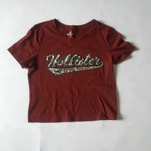 Slim burgundy coloured Hollister shirt